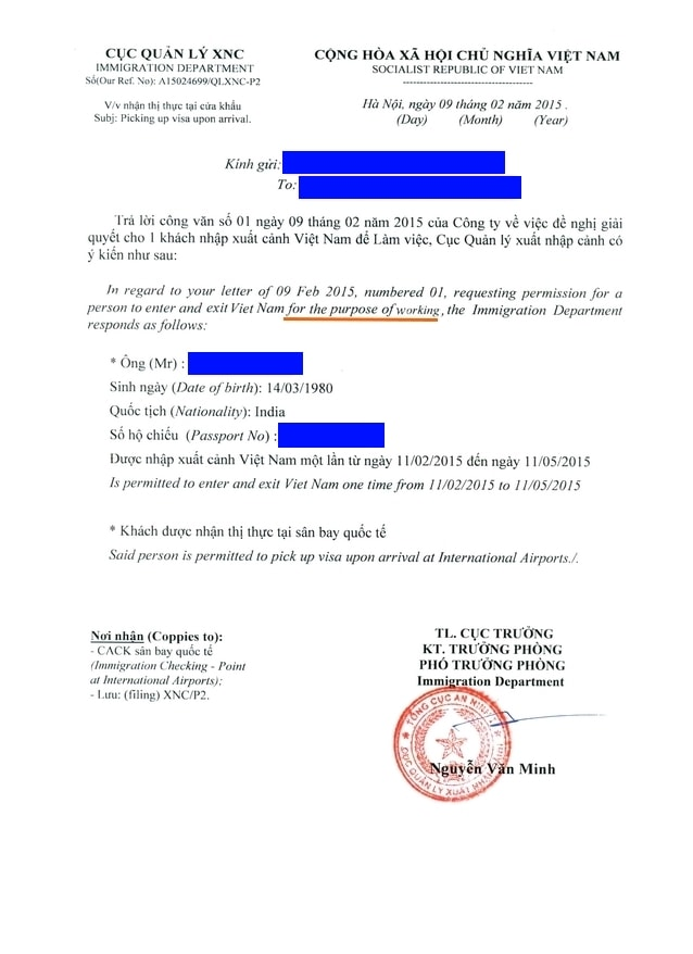 vietnam bussiness approval letter